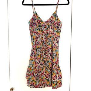 Parker Silk Button Front Ruffle Floral Dress